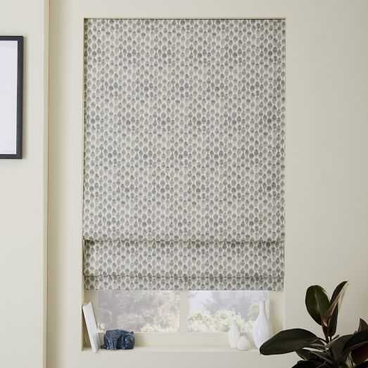 """Stamped Dots Printed Roman Shade + Blackout Liner - 36"""" - West Elm"""