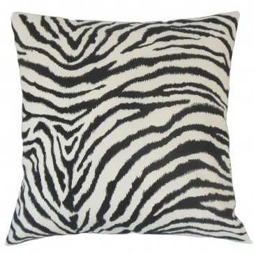 "Wassameh Animal Print Pillow Black White -18"" x 18"" - Insert included - Linen & Seam"