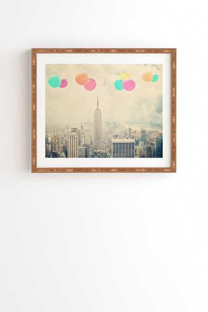 "BALLOONS OVER THE CITY Framed Wall Art - 19"" x 22.4"" - Gold Frame - Wander Print Co."