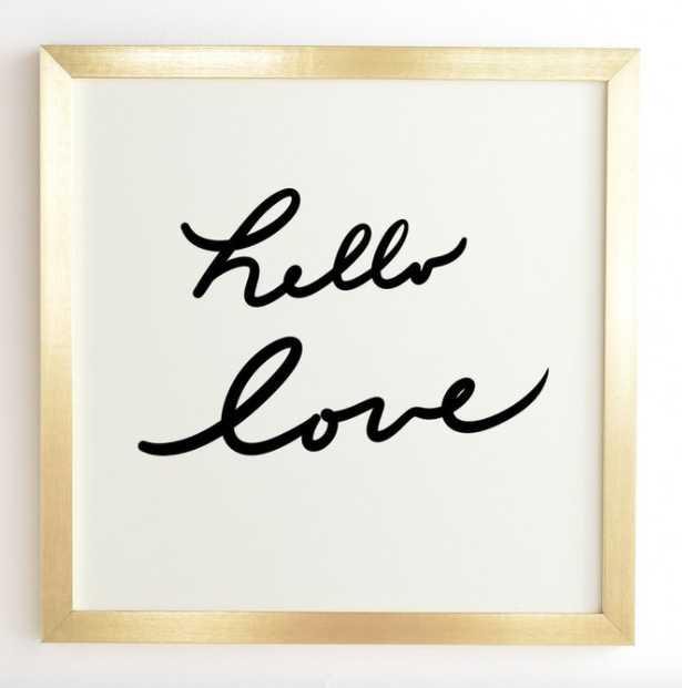 Hello Love on White Wall Art - Gold Frame - Wander Print Co.