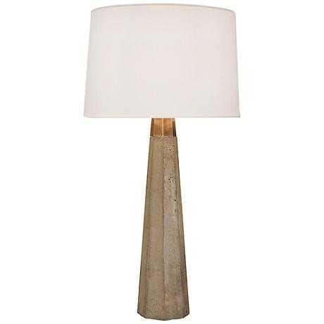 Regina-Andrew Concrete and Brass Table Lamp - Lamps Plus