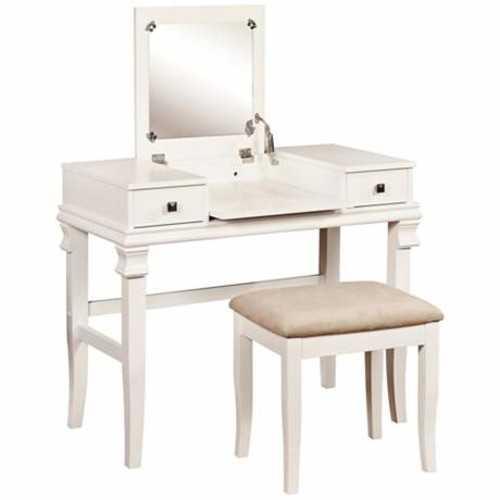 Angela White 2-Piece Vanity Table Set - Lamps Plus