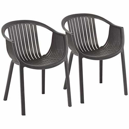 Delray Bay Black Outdoor Accent Chairs Set of 2 - Lamps Plus