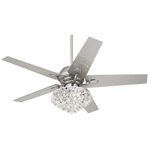 "52"" Casa Optima™ Brushed Steel Crystal Ceiling Fan - Lamps Plus"