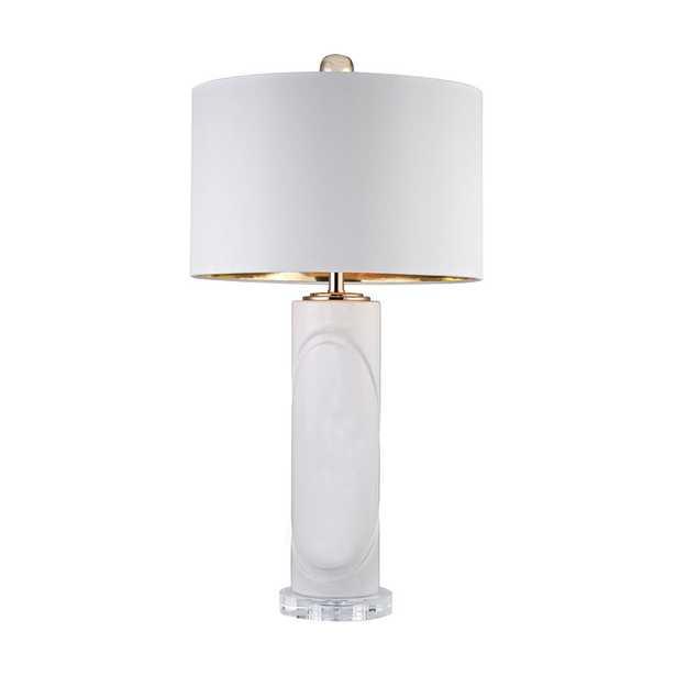 White Embossed Oval Lamp - Rosen Studio