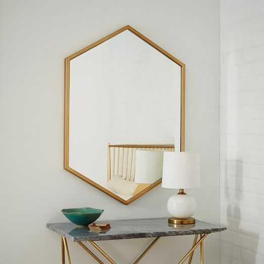 Metal Framed Hexagon Mirror - Antique Brass - West Elm