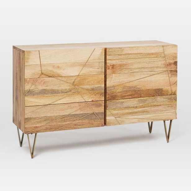 Roar + Rabbit Brass Geo Inlay 6-Drawer Dresser - Raw Mango - West Elm