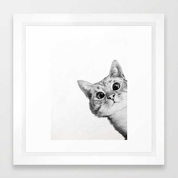 sneaky cat- 12'' x 12''- Vector white frame with mat - Society6
