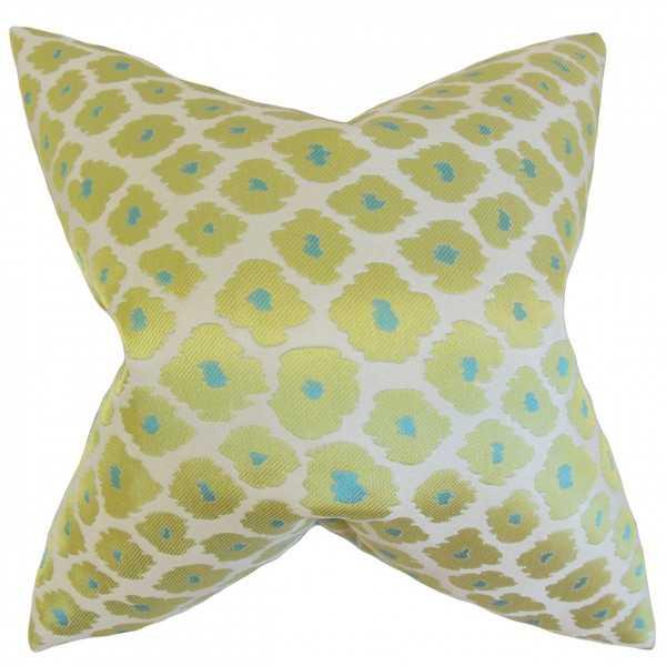 Ajamu Geometric Pillow Lime -18x18-Poly fill - Linen & Seam