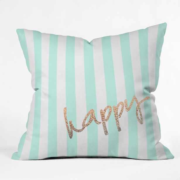 "Pretty Happy Mint Throw Pillow,18""Sq-Polyester fill insert - Wander Print Co."