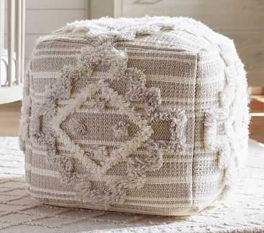 Moroccan Tufted Pouf, Natural/White - Pottery Barn Kids