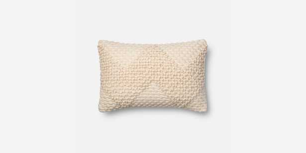 """P1007 MH IVORY Pillow Cover - 13"""" x 21"""" with Down Insert - Magnolia Home by Joana Gaines Crafted by Loloi Rugs"""