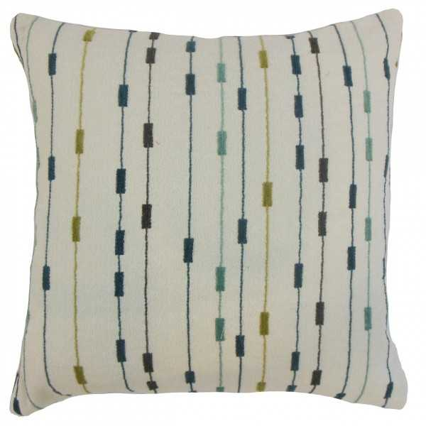 "Ancelin Stripes Pillow Lagoon - 22"" x 22"" with Down Insert - Linen & Seam"