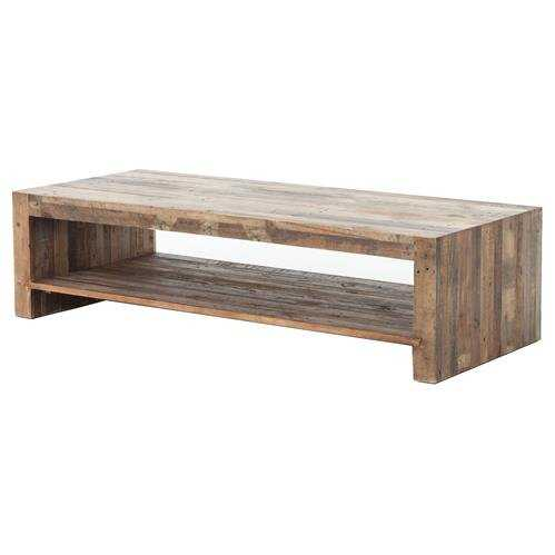 Wynn Modern Rustic Lodge Chunky Reclaimed Wood Rectangle Coffee Table - Kathy Kuo Home