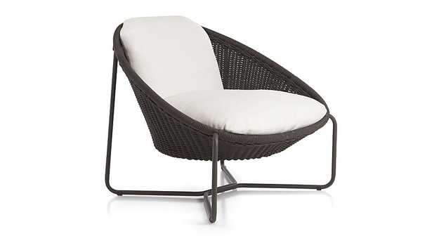 Morocco Charcoal Oval Lounge Chair with Cushion - Crate and Barrel