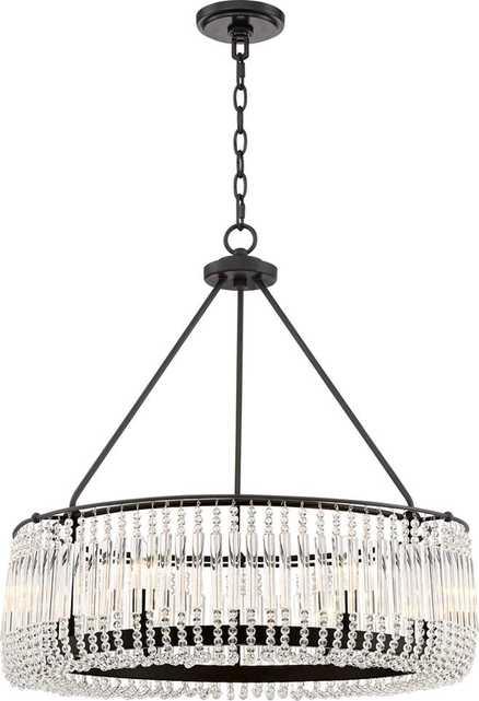 """Capilla Clear Crystal 26""""W Matte Black Pendant Chandelier - Lamps Plus"""