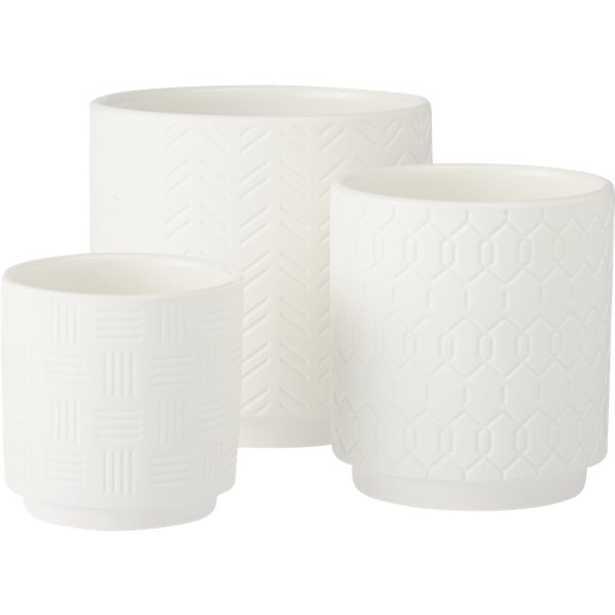 3-piece white loom planter set - CB2
