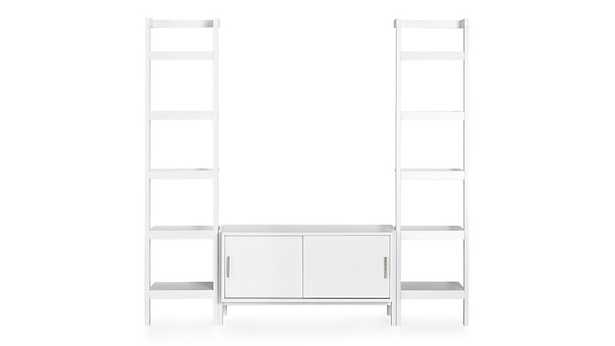 Sawyer White Media Stand with Media Shelf and Two 18'' Bookcases - Crate and Barrel
