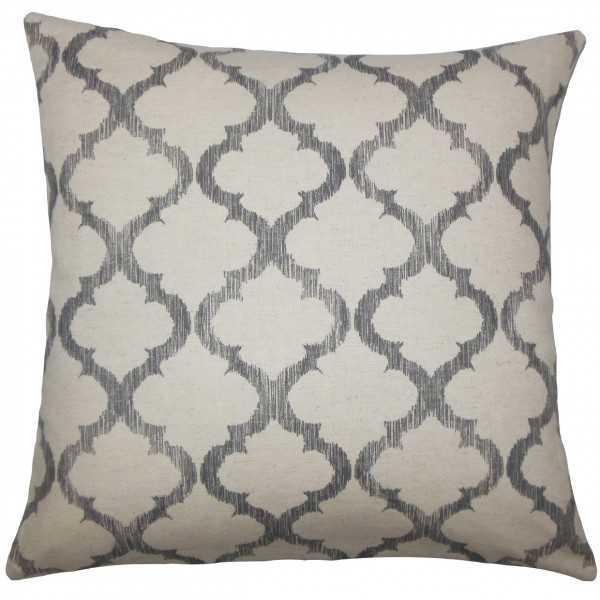 "Fortuo Geometric Pillow Grey - 20"" x 20"" - Down Insert - Linen & Seam"