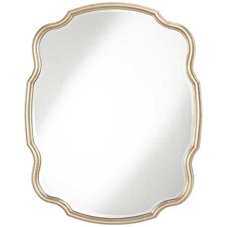 """Melba Champagne Curved 33""""x42""""Wall Mirror - Lamps Plus"""
