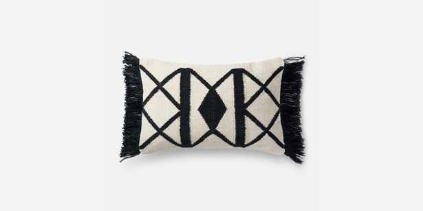 "P0503 BLACK / IVORY Pillow - 13""x21"" - Poly Insert - Loma Threads"