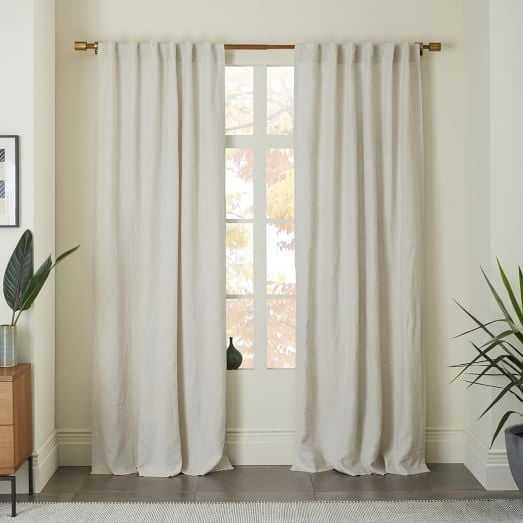 "Belgian Flax Linen Curtain - Natural-  Unlined- 108""l - West Elm"