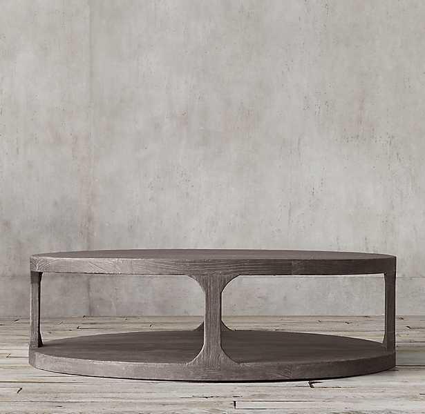 "Martens Round Coffee Table - Aged Brown Elm - 36""diam. - RH"