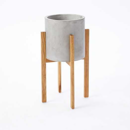 Modern Wood Leg Planter - Cylinder - Tall - West Elm