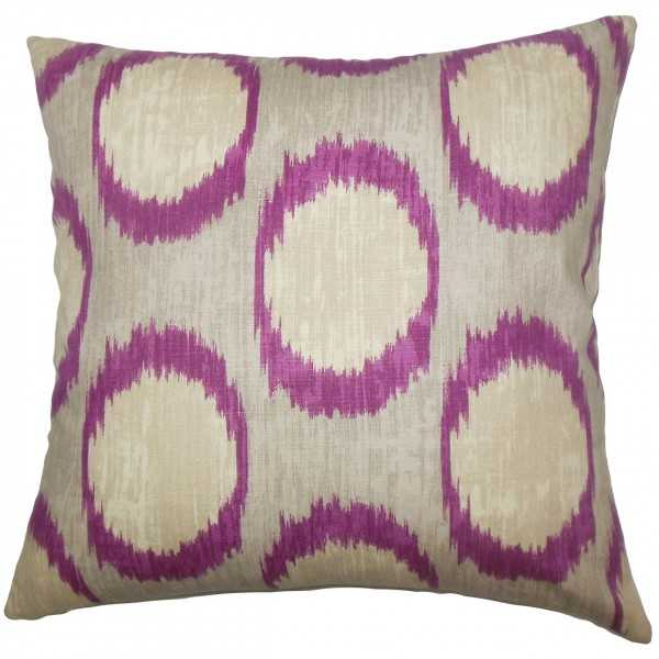 Ridha Ikat Pillow Currant - Purple - Polyester  Insert - Linen & Seam