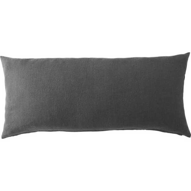 """linon dark grey 36""""x16"""" pillow with feather-down insert - CB2"""