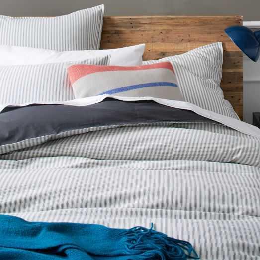 Ticking Stripe Duvet Twin, Stone White/Graphite - West Elm