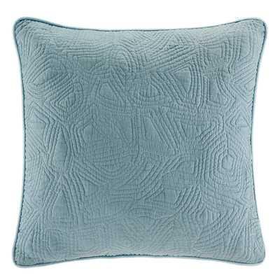 """Belcourt Cotton Throw Pillow-18""""x18""""- Smoke Blue- Polyester/Polyfill insert - Wayfair"""