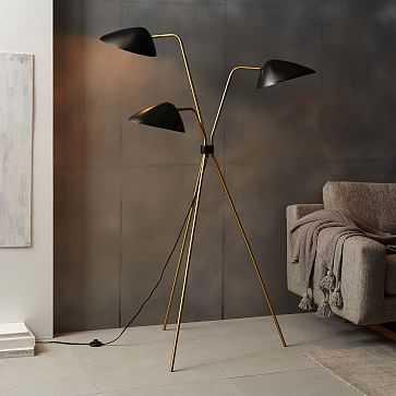 Curvilinear Mid-Century Floor Lamp, 3-Light, Black/Brass - West Elm