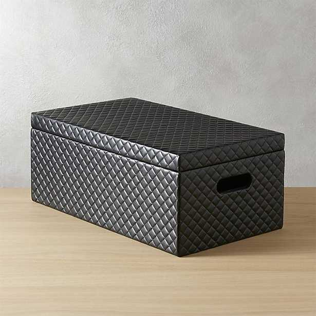 quilted black storage box with lid - CB2