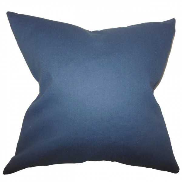 """Kalindi Solid Pillow Blue-18"""" x 18""""-Down Insert - Linen & Seam"""