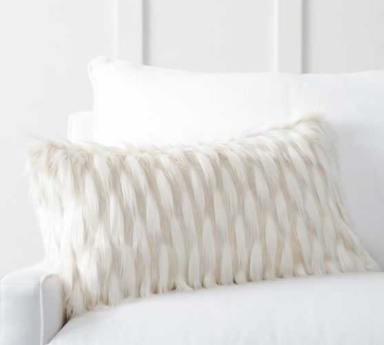 """Winter Fox Pillow Cover, Solid ivory - 12"""" x 24"""" - No Insert - Pottery Barn"""