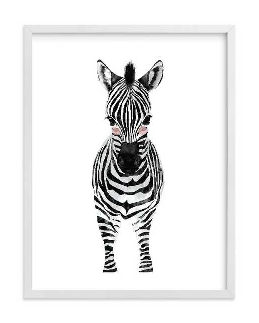 "Baby Animal Zebra - 8"" x 10"" - White Wood Frame - Minted"