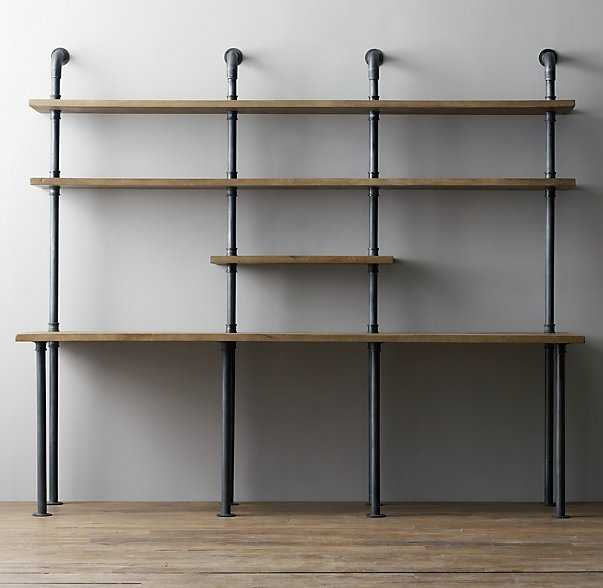 Industrial pipe double desk with shelving - RH Baby & Child