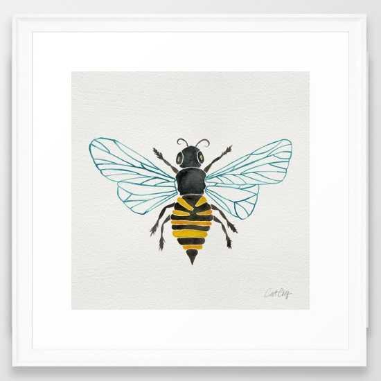 Honey Bee, 22x22, White Scoop Frame - Society6