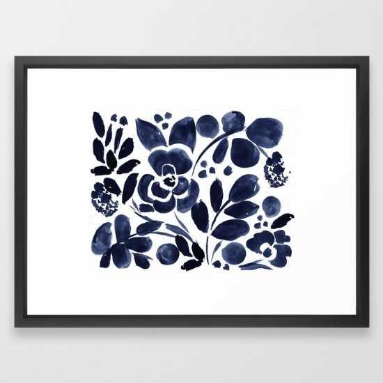 Navy Floral VECTOR BLACK, Medium 20 x 26 - Society6