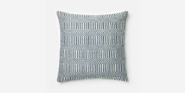 """P0339 Blue / Ivory Pillow Cover - 22"""" x 22"""" with Poly fill - Loma Threads"""