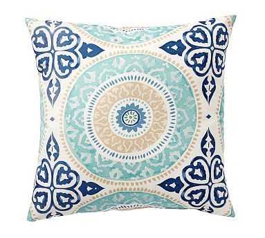"""Leona Medallion Indoor/Outdoor Pillow, 20"""", Blue Multi - Pottery Barn"""