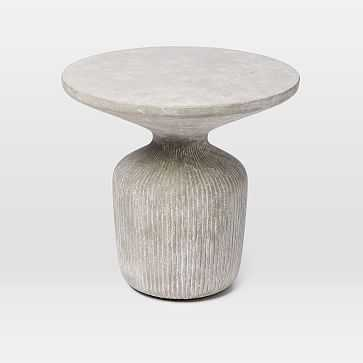 Tambor Lobo Concrete Side Table, Raw Concrete - West Elm