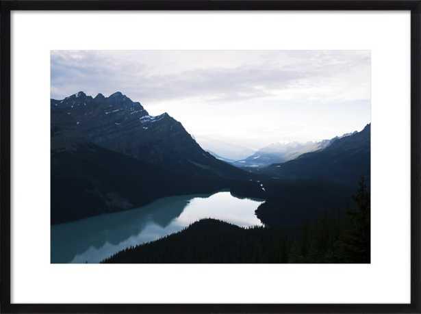 """Summer Night on Peyto Lake - 31x23"""" - Black Wood Frame with Matte - Artfully Walls"""