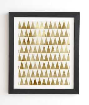 """TRIANGLE PATTERN GOLD Framed Wall Art - 11"""" x 13"""" - Basic Black Frame - With mat - Wander Print Co."""