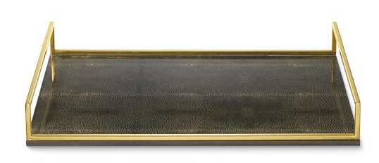 Printed Shagreen and Brass Tray - Williams Sonoma Home