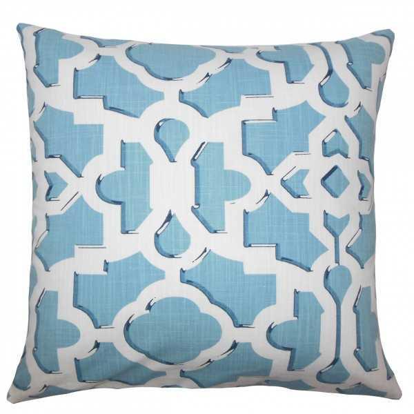 """Calixte Geometric Pillow Sky - 18"""" x 18"""" - Polyester Insert - Linen & Seam"""