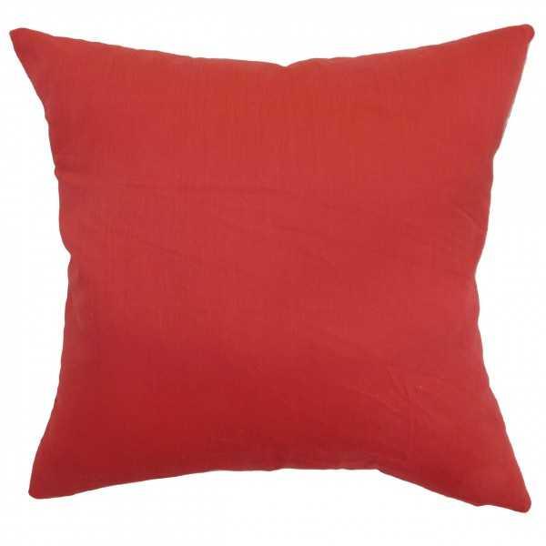 """Calvi Plain Pillow Red - 18"""" x 18"""" - Polyester Insert - Linen & Seam"""