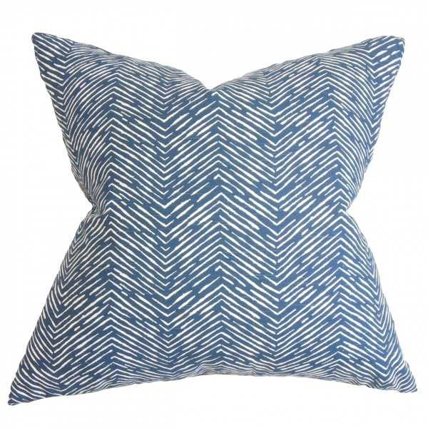 "Edythe Zigzag Pillow - 20"" x 20"" - Down Insert - Linen & Seam"