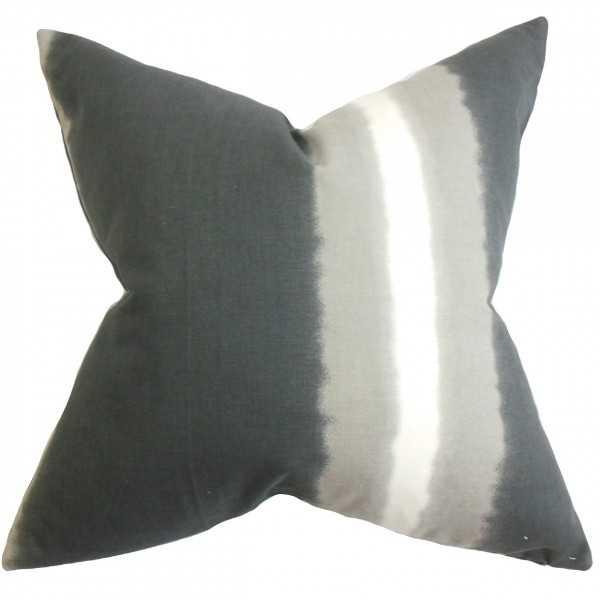 """Djuna Stripe Pillow Gray- 20"""" x 20"""", Down Insert - Linen & Seam"""